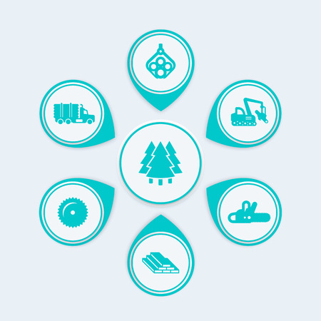 logging: Logging, tree harvester, tracked feller buncher, industrial wood, lumber, timber infographic elements, icons Illustration