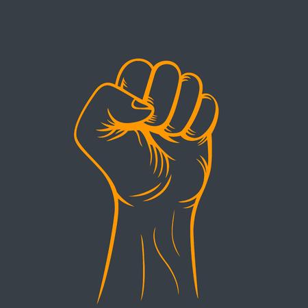 revolt: fist held high, outline, revolt, protest symbol