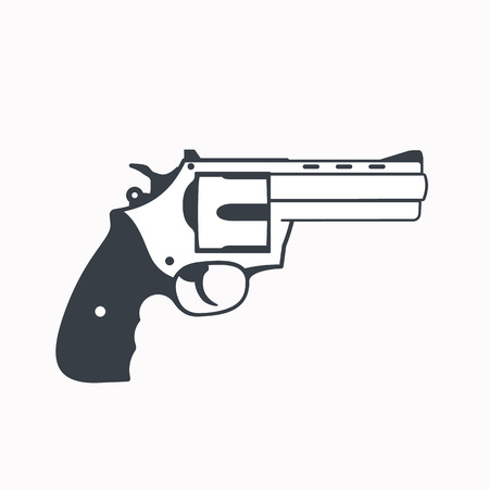 handgun: revolver outline, handgun, isolated on white Illustration