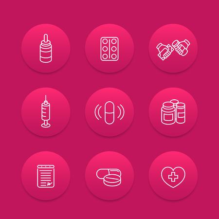 medycyna, narkotyki, ikony linii pigułek, farmaceutyki, suplementy, farmaceutyki, leki, szczepienia