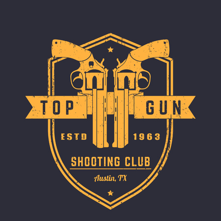 apparel: Gun club vintage logo, emblem with revolvers on shield, grunge textures can be removed