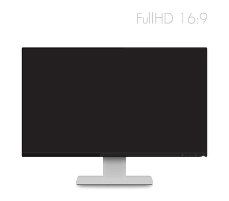 fullhd: monitor mockup, modern realistic computer display with wide screen and thin frames