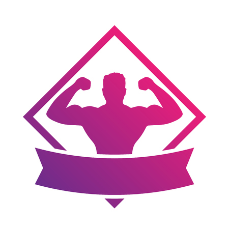 rhombic: emblem with strong athlete, bodybuilder