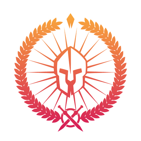 emblem, logo with spartan helmet on white, vector illustration