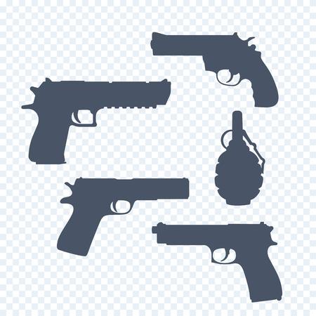 gunman: revolver, pistols, gun, handguns, grenade silhouettes, vector illustration