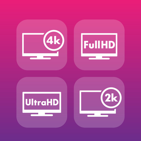 high definition: High Definition icons, Full HD, Ultra HD, 2k, 4k video