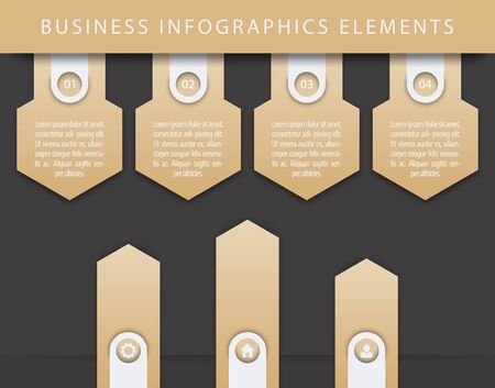 3 4: Business Infographics elements, 1, 2, 3, 4, steps, timeline, growth arrows, gold and black