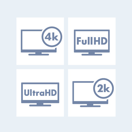 high definition: High Definition icons, tags, Full HD, Ultra HD, 2k, 4k, tv