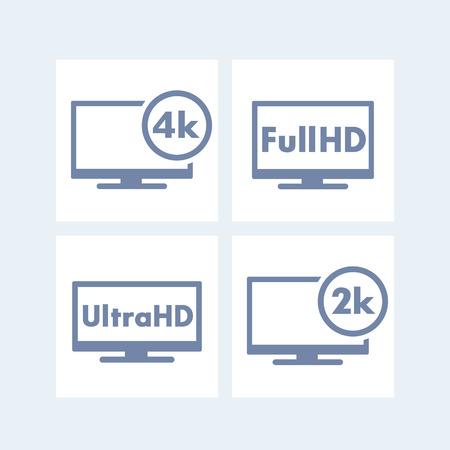 fullhd: High Definition icons, tags, Full HD, Ultra HD, 2k, 4k, tv