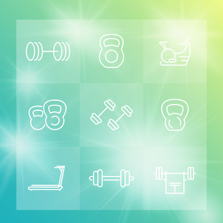 gym equipment: Gym equipment line icons set, workout, fitness, training, exercise
