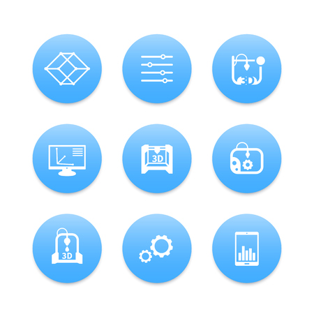 additive manufacturing: 3d printer, printing icons set, modeling, additive manufacturing, designing