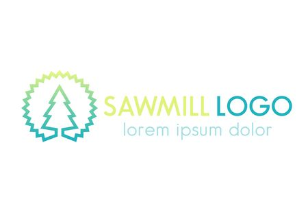 steel mill: Sawmill logo line design template, sawmill disk and tree outline, vector illustration