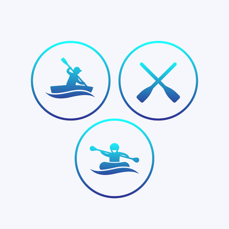 oars: Rowing, kayaking, rafting, canoe, boat, oars icons with gradient