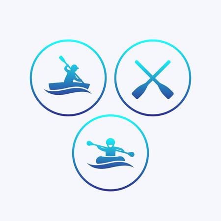 oars: Rowing, kayaking, rafting, canoe, boat, oars icons with gradient