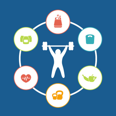 weightlifting: aspects of weightlifting, color round icons