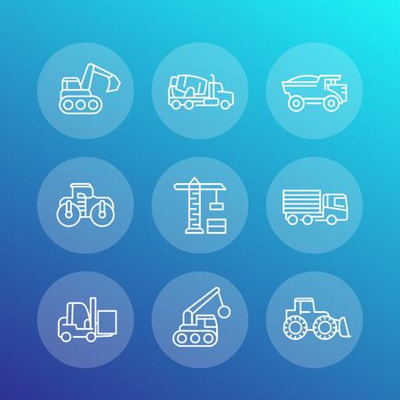 heavy construction: construction vehicles line icons set, heavy machines, engineering equipment, digger, crane, trucks, excavator, loader