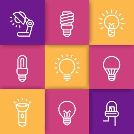 icônes de lignes ampoules, CFL, fluorescent, halogène, lampe, lampe de poche Vecteurs