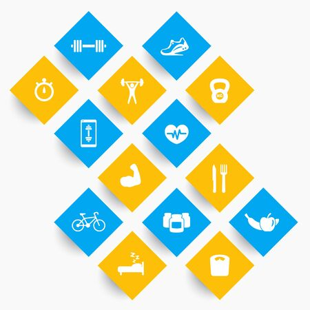 snatch: 14 fitness, gym icons, exercise, training pictograms on rhombic shapes, vector illustration Illustration