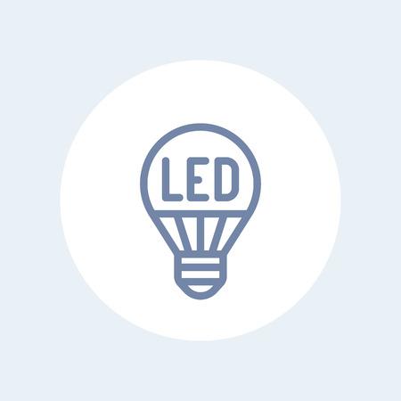 led light bulb: led light bulb line icon isolated on white
