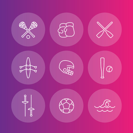 lax: sports and games line icons set, rowing, boxing, fencing, lacrosse, football, vector illustration