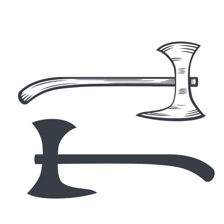 halberd: battle axe outline and silhouette, vector illustration