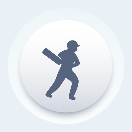 batsman: Cricket icon, batsman, cricket player with bat Illustration