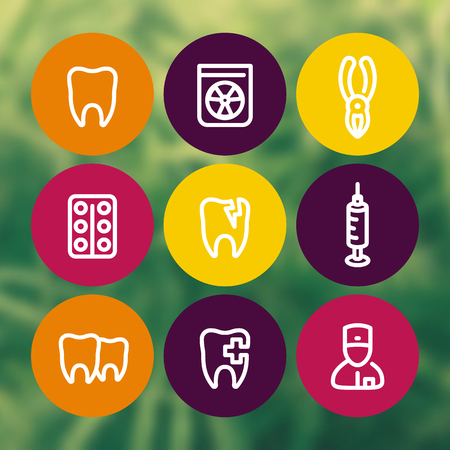 toothcare: Tooth icons set, dentist, dental care, toothcare, stomatology, rontgen, line pictograms, vector illustration