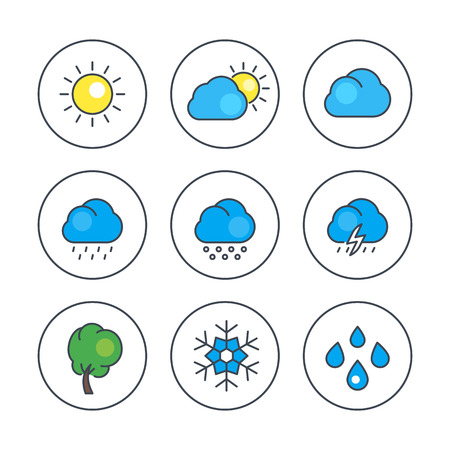 hail: Weather line icons with color filling, rain, snowflake, hail, wind, sun, snow, clouds