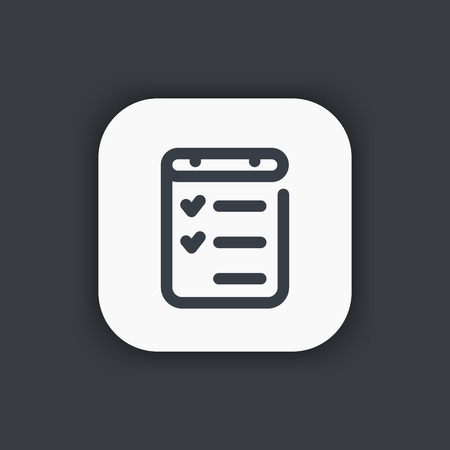 checklist line icon, completed tasks, results, achievements Vector Illustration