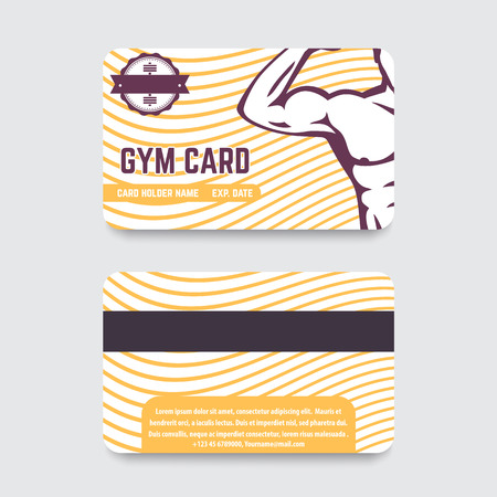fitness club, gym card design with strong athlete, vector illustration