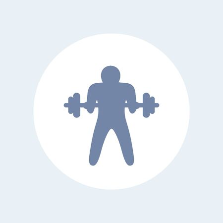 curl: Bicep curl icon, man doing arm exercise