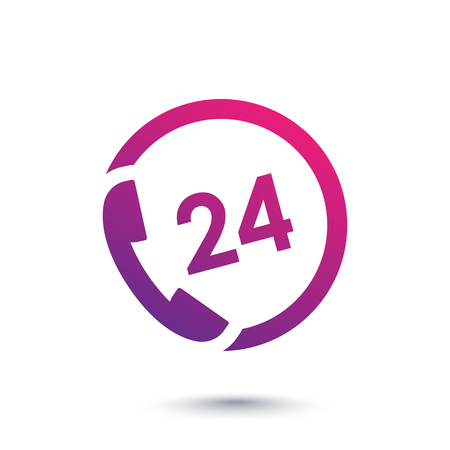 24 uur service icoon, telefoon, bel ons altijd Vector Illustratie