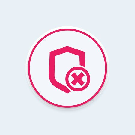 Shield icon, insecure, unprotected, security removed, vector illustration Illustration