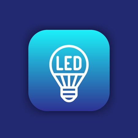 led light: led light bulb line icon