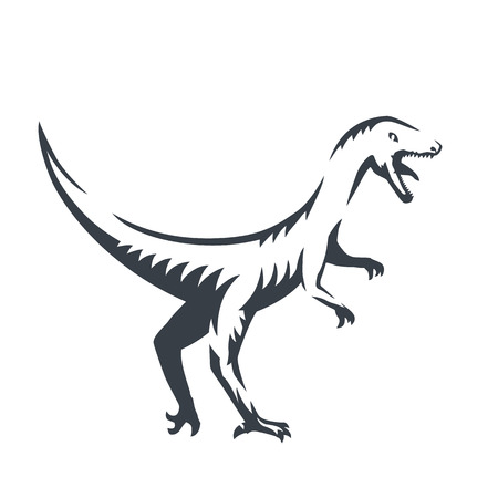 raptorial: Velociraptor, raptorial dinosaur outline, vector illustration Illustration