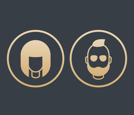 bearded man: Avatars icons in circles, girl and bearded man, login pictograms, gold on dark, vector illustration