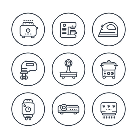 coffee blender: Appliances, consumer electronics line icons in circles, toaster, coffee machine, iron, blender, scales, steamer, home boiler, projector, air conditioner Illustration