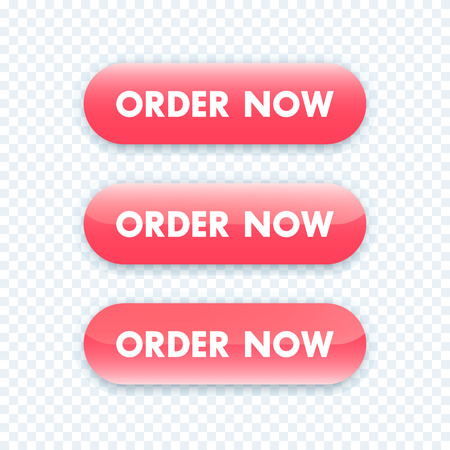 red button: order now button for web design, red version, vector illustration Illustration