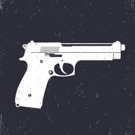pistol gun: pistol, gun, modern semi-automatic handgun, white on dark, vector illustration Illustration