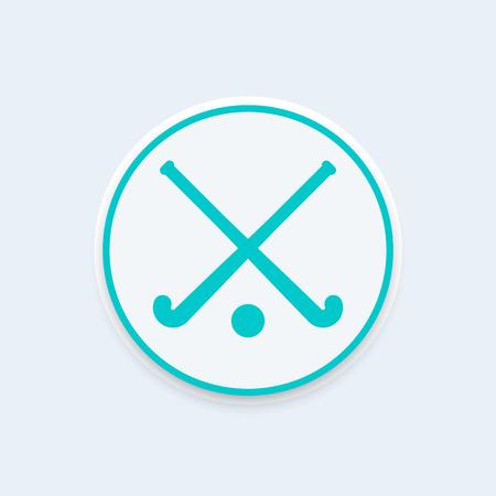 Hockey pictogram, ronde pictogram, vector illustratie