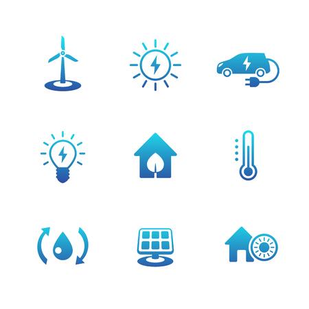 ecologic: Green ecologic house, ecofriendly, energy saving technologies, blue icons