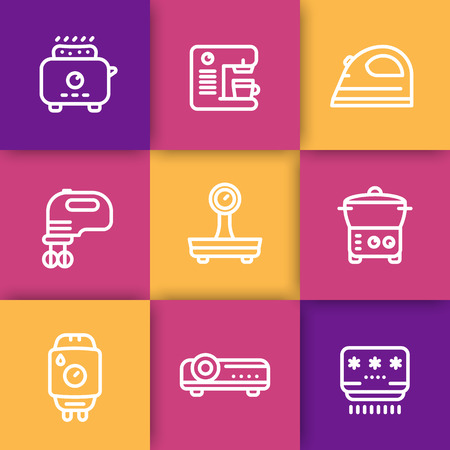 consumer electronics: Appliances, consumer electronics line icons set, toaster, coffee machine, blender, iron, scales, steamer, home boiler, projector, air conditioner, vector illustration
