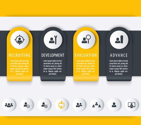 employee development: Staff, HR, employee development timeline, infographics elements, icons Illustration