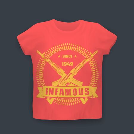 infamous: infamous since 1949, print with assault rifles, guns, t-shirt design on mockup in colors of soviet flag, vector illustration Illustration