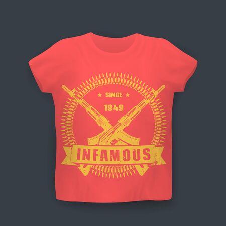infamous since 1949, print with assault rifles, guns, t-shirt design on mockup in colors of soviet flag, vector illustration Illustration