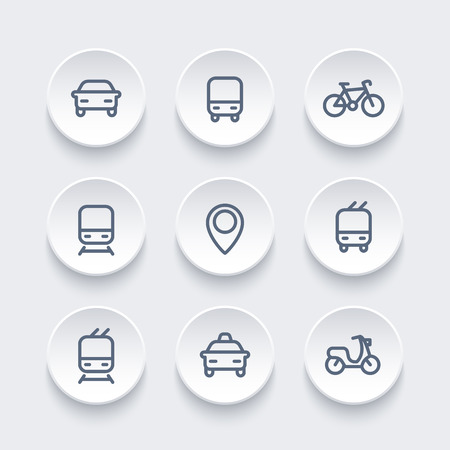 transport icons: City and public transport icons, transportation vector signs, route, bus, subway, taxi, bike, train, railroad
