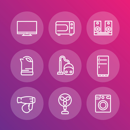 consumer electronics: Appliances line icons, household consumer electronics, microwave oven, vacuum cleaner, kettle, acoustics, tv, fan, fridge, hairdryer, washing machine