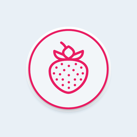 contemporary taste: strawberry line icon on round shape