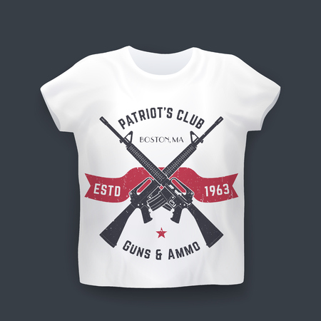 assault: Patriots club vintage print with crossed guns, assault rifles, t-shirt design on mockup, vector illustration