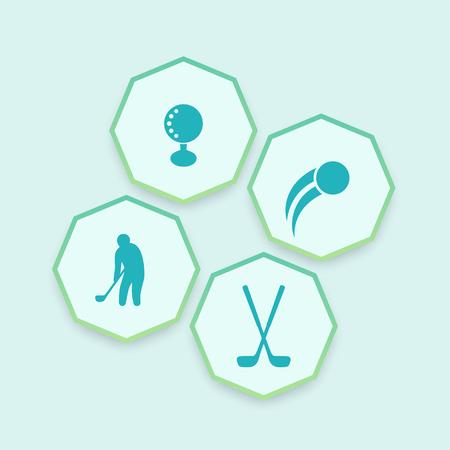 Golf, golfer, clubs, ball, octagonal icons, vector illustration